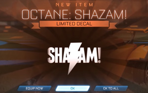 Rocket League Shazam Decal